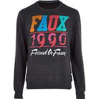 GREY FRIEND OR FAUX 1990 PRINT SWEATSHIRT