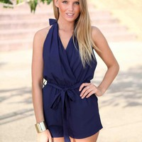Navy Cross Over Halter Tie Neck Playsuit