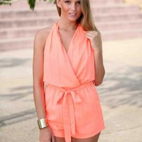 Coral Cross Over Halter Tie Neck Playsuit