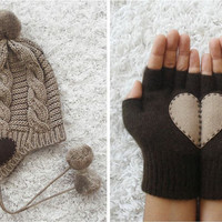 SPECIAL PRICE, Hat Gloves Set, Heart Gloves, Brown Gloves, Beige Hat, Plaited