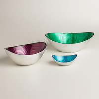 GLASS OVAL BOWLS, SETS OF 4