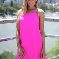 Pink Sleeveless Shift Dress
