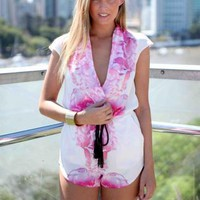 Pink Floral Print Plunge Neck Playsuit with Black Waist Tie