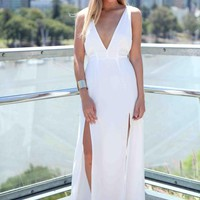 White Multi Strap Back Plunge Neckline Maxi Dress
