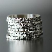Birch bark textured stack ring. stackable ring band. skinny ring. sterling silver stack ring. hammered silver ring. stackable ring. stacking