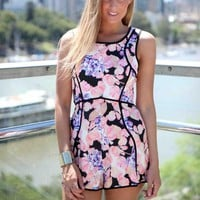 Pink Floral Print Playsuit with Black Piping Detail