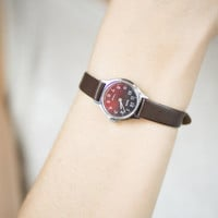 Vintage women's watch Zarja silver tone watch round small watch burgundy brown face watch lady premium leather watch gift