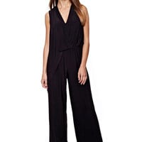 EMMA & MICHELE Black V-Neck Jumpsuit