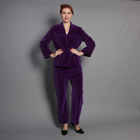 60s VELVET Pants & Jacket Cocktail SET / Purple Pantsuit, Rhinestone Buttons, s
