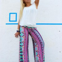 Wide Leg Pants with Bubble Gum Colors (P858)
