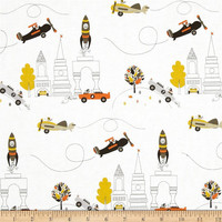 Ready to ship Toddler bedding in Miller aviator planes rockets city buildings transportation