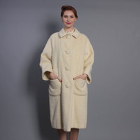60s Ivory MOHAIR COAT / Fuzzy Wool Winter Wonder, s - l