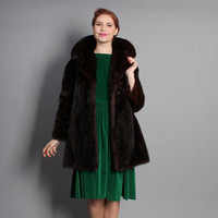 50s MINK Fur COAT / Mahogany Dark Brown Mid Length, m