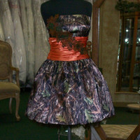 Camo Prom Dress with Orange Satin waist band, corset back and embroidered leaf embellishment