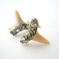 Shark Teeth Earrings - Pyrite Encrusted - Sterling Posts - Raw Stone Fossil Earrings