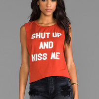 Morning Warrior Shut Up & Kiss Me Muscle Tee in Brick