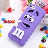 FiveBox Lovely Cartoon Mouth-open M & M's Chocolate Candies Style Fragrant Soft Silicone Case Cover Compatible for Iphone 5 5g 5s (purple)
