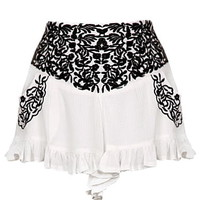 Bardot Girl Shorts | Floral Embroidered Black White Bottoms | Rickety Rack