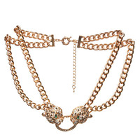 Double Cougar & Chain Necklace | Arden B.