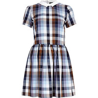 BLUE CHECK CONTRAST COLLAR SKATER DRESS