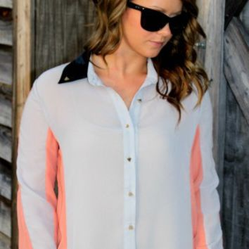 Grey/Peach High Low Blouse