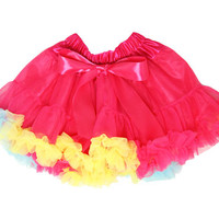 Kutsie Baby Multi Color Hot Pink, Yellow & Turquoise Pettiskirt