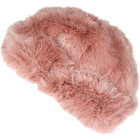 LIGHT PINK FAUX FUR BEANIE HAT