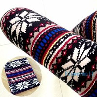 Fashion Hot Womens Colorful Pattern Retro Knitted Leggings Tights Pants