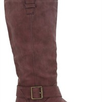 Tall Flat Riding Boot with Double Crossover Straps