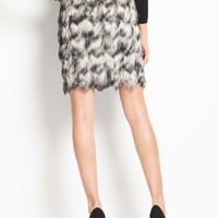 Ombre Feathered Fringe Skirt