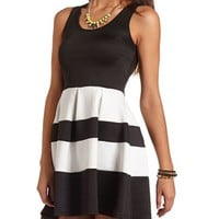 KEYHOLE BACK PLEATED SKATER DRESS