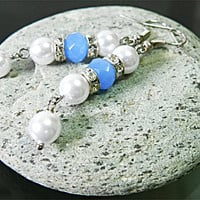Blue Earrings White Earrings Dangle Earrings - Cute Delicate Long Earrings for Women - Gift for Her Handmade Jewelry