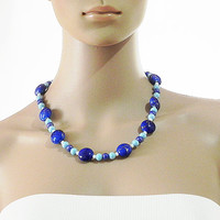 Blue Necklace Blue Stretch Necklace Beaded Necklace - Handmade Necklace Handmade Jewelry for Women - Gift for Her