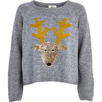 GREY SEQUIN REINDEER SWEATER
