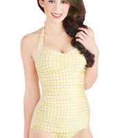 Esther Williams Bathing Beauty One Piece in Yellow Gingham | Mod Retro Vintage Bathing Suits | ModCloth.com