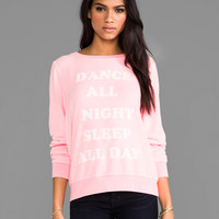 Wildfox Couture Dance All Night Baggy Beach Jumper in Neon Sign