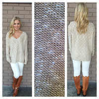 Oatmeal Wide V-Neck Knit Sweater