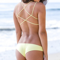 The Girl and The Water - Frankie's Bikinis 2014 - Venice Bikini Bottom Yellow - $77