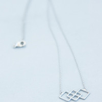 Silver Tiny Tri-Square Necklace