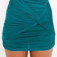 Ruched Knot Skirt - Emerald