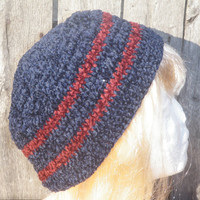 Navy blue red striped beanie, crochet bucket hat, chenille crochet hat