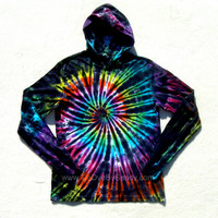 Tie Dye Hoodie Inverted Rainbow Spiral Long Sleeve Hooded Tshirt