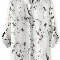 Splashed Ink Chiffon Shirt