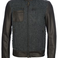 DSQUARED2 leather sleeve bomber jacket