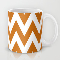 Team Spirit Chevron Burnt Orange and White Mug by Team Spirit