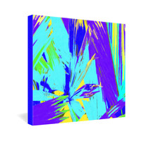 Rosie Brown Blue Palms 1 Gallery Wrapped Canvas