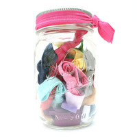 Mason Jar Filled with Hair Ties (30) Ribbon Ponytails for Girls to Women - Great Christmas Gift for Daughter, Friend, New Mom, Niece, Coach