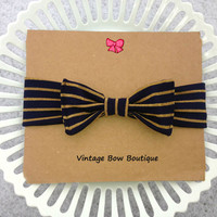 Stretch bow headband - navy blue - gold - retro bow - feminine - bow
