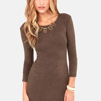Knitting on the Dock of the Bay Brown Sweater Dress