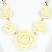 Short Statement Necklace with Large Roses with Stones